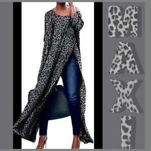 Leopard Print High Split Maxi Dress NWT